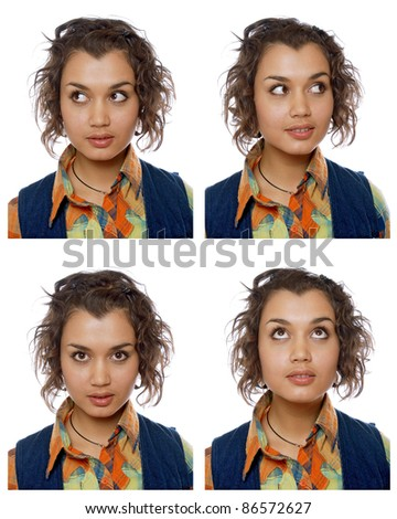 portraits of the same woman in different emotions - stock photo