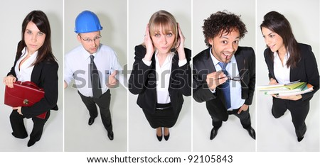 portraits of workers - stock photo