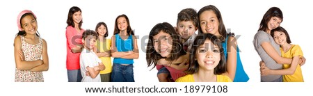 Portraits of young friends appearing confident and having fun, isolated. - stock photo