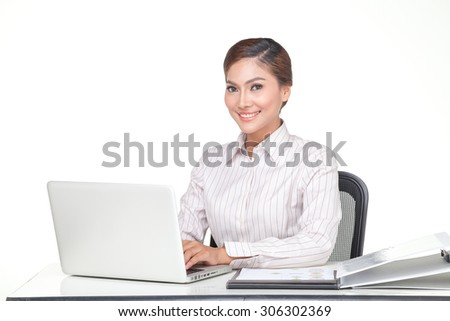 portraits young business woman smiling when smiling on desk and looking the camera, isolated on white background