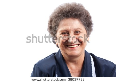 Portraitt of a happy senior woman laughing - stock photo
