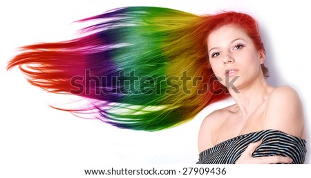 portraot of a beautiful woman with long color hair - stock photo