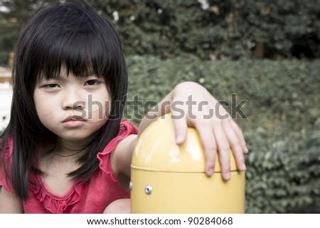 Portray of a scar abandon Asian girl - stock photo