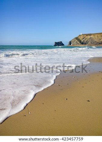 Portreath beach shore white water, Cornwall England. - stock photo