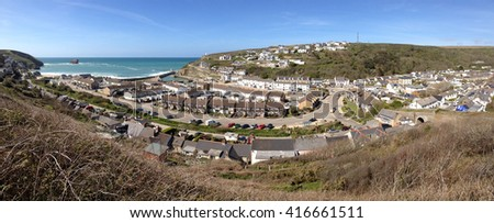 Portreath Cornwall England UK, May 3rd 2016. Panoramic view of the Cornish seaside village and coast. - stock photo