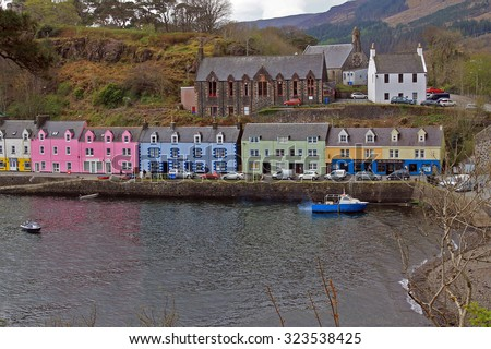 Portree Harbour with buildings in colour - Isle of Skye - Scotland - stock photo