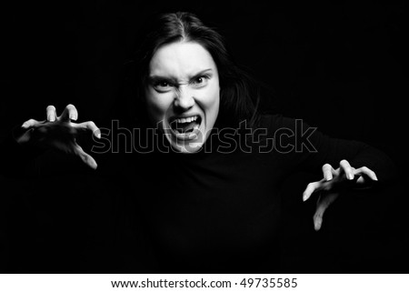 Portret of screaming woman - stock photo