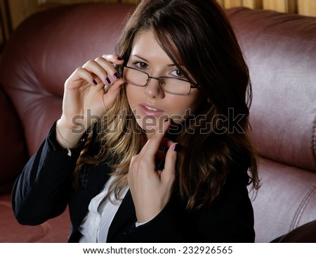 portret women in glasses and  business suit  - stock photo