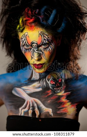 PORTSCHACH, AUSTRIA - JULY 7: Model posing with bodypainting by Evelina Iacubino on World bodypainting festival  on July 7, 2012 in Portschach, Austria. The festival is from July 6 - 8, 2012