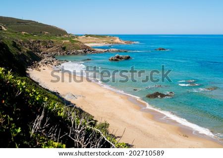 Portu Maga beach along Green coast, west  Sardinia, Italy - stock photo