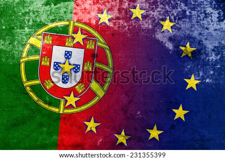 Portugal and European Union Flag with a vintage and old look - stock photo