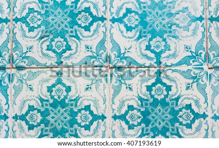 portugal azulejos closeup - stock photo