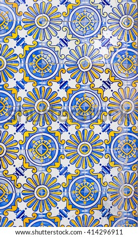 portugal azulejos tiles wall - stock photo