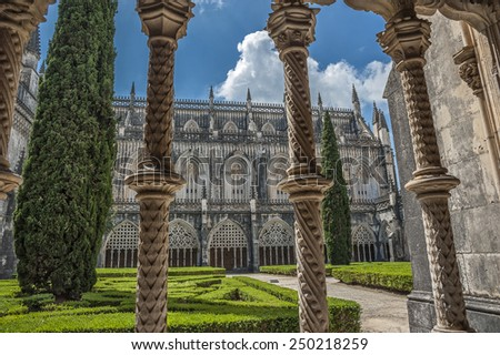 Portugal, Batalha. Monastery of Santa Maria da Vitoria , and better known to us all as da Batalha Monastery,  one of the most beautiful works of Portuguese and European architecture.  - stock photo