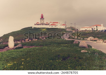 Portugal. Cabo da Roca and the lighthouse over Atlantic Ocean - stock photo