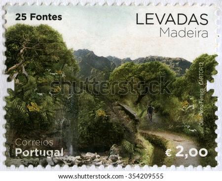 PORTUGAL - CIRCA 2012: A stamp printed by Portugal shows 25 natural springs, series Levada, Madeira Island, circa 2012 - stock photo
