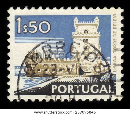 PORTUGAL - CIRCA 1972: A stamp printed in Portugal shows Belem Tower, Lisbon (Lisboa), series landscapes and monuments, circa 1972 - stock photo