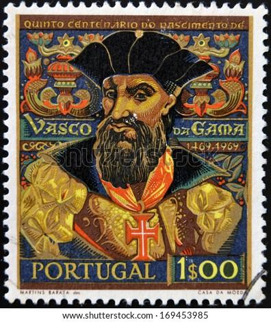 PORTUGAL - CIRCA 1969: A stamp printed in Portugal shows explorer Vasco da Gama, circa 1969.  - stock photo