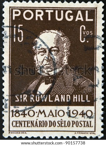 PORTUGAL - CIRCA 1940: A stamp printed in Portugal shows Sir Rowland Hill, circa 1940