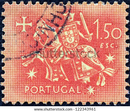 PORTUGAL - CIRCA 1953: A stamp printed in Portugal shows the Seal of authority of King Dinis, circa 1953.