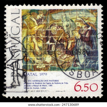 PORTUGAL - CIRCA 1979: a stamp printed in the Portugal shows biblical scenes, adoration of the Magi, series christmas, circa 1979 - stock photo