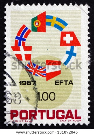 PORTUGAL - CIRCA 1967: a stamp printed in the Portugal shows Flags of EFTA Nations, European Free Trade Association, circa 1967