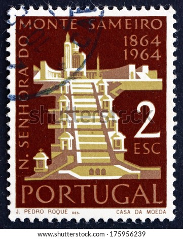 PORTUGAL - CIRCA 1964: a stamp printed in the Portugal shows Mt. Sameiro Church, Centenary of the Shrine of Our Lady of Mt. Sameiro, Braga, circa 1964 - stock photo