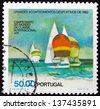 PORTUGAL - CIRCA 1982: a stamp printed in the Portugal shows Sailboats, International 470 Class World Championships, Cascais Bay, circa 1982 - stock photo