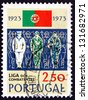 PORTUGAL - CIRCA 1973: a stamp printed in the Portugal shows Sailor, Soldier and Aviator, 50th Anniversary of the Servicemen'??s League, circa 1973 - stock photo