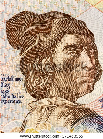 PORTUGAL - CIRCA 1991: Bartolomeu Dias (1451-1500) on 2000 Escudos 1991 Banknote from Portugal. Nobleman of the royal household and explorer. - stock photo