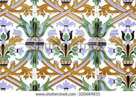 Portugal colorful tiles, detail of decoration - stock photo