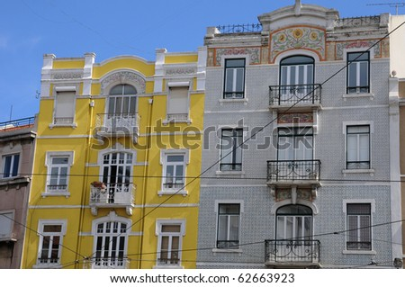 Portugal, coloured building in Lisbon