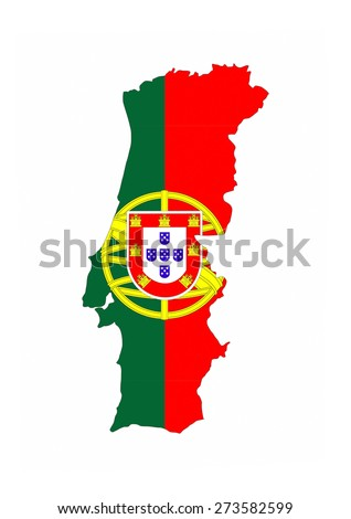 portugal country flag map shape national symbol - stock photo