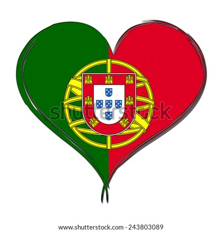 Portugal 3D heart shaped flag - stock photo