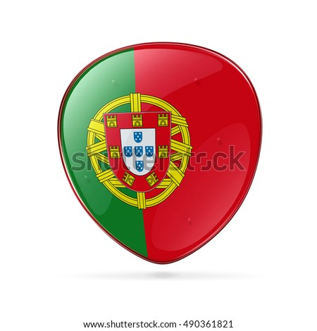 Portugal Flag Icon, isolated on white background.