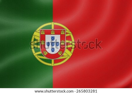 Portugal flag on the fabric texture background