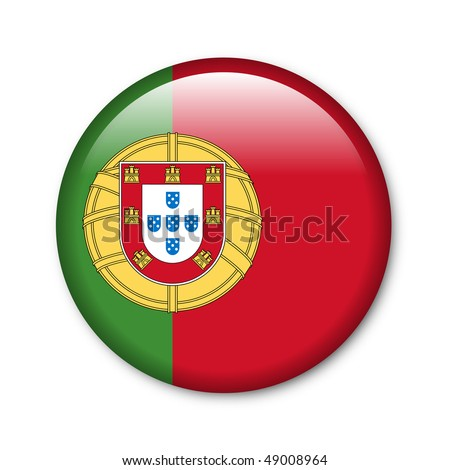 Portugal - glossy button with flag