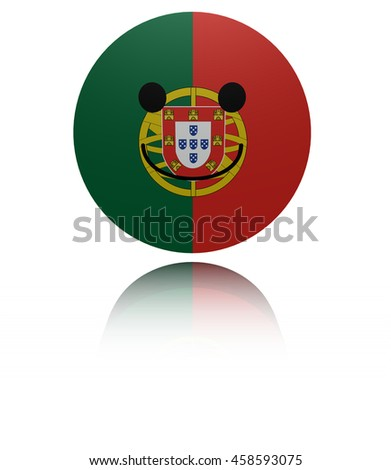 Portugal happy icon with reflection 3d illustration