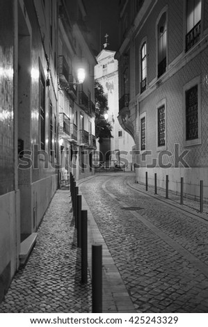 Portugal, Lisbon, Alfama area, view of old buildings at night