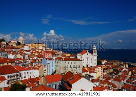 Portugal - Lisbon - Cityscape - Alfama - Cloudy Blue Sky Daylight - stock photo