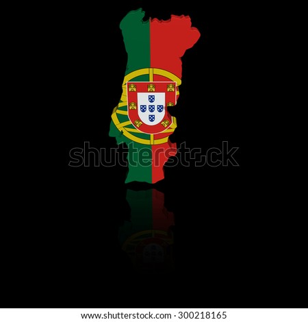 Portugal map flag with reflection illustration - stock photo