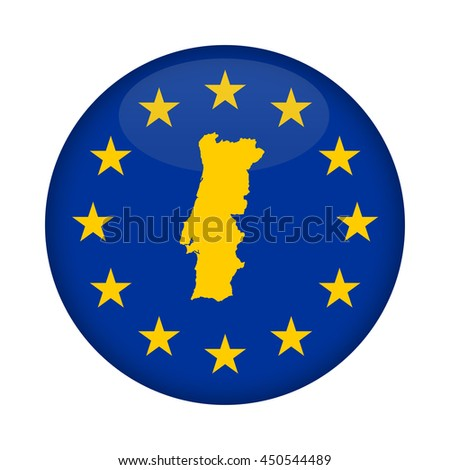 Portugal map on a European Union flag button isolated on a white background. - stock photo
