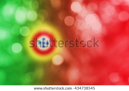 PORTUGAL : National flag. Soft blurred bokeh natural background. Abstract gradient desktop wallpaper.  - stock photo