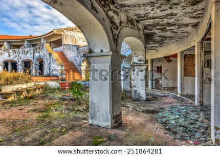 PORTUGAL - NOVEMBER 10: Beautiful architecture at an abandoned resort on November 10, 2014 somewhere in Portugal - stock photo