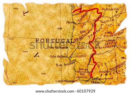 Portugal on an old torn map from 1949, isolated. Part of the old map series. - stock photo