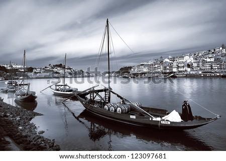 Portugal. Porto, Douro river and old ships - stock photo