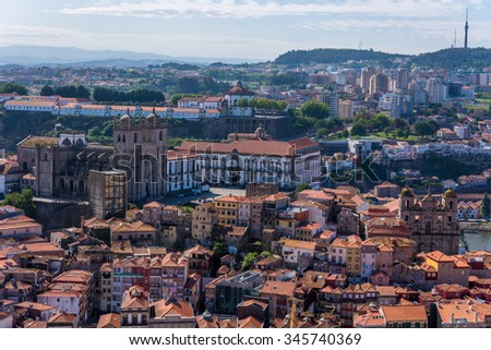 Portugal, Porto, Douro river nad historic city centre - stock photo