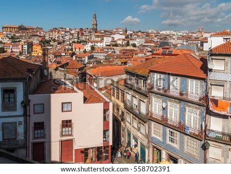 Portugal, Porto - OCTOBER 14, 2016: A view of the city from the platform at the Cathedral