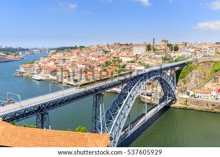 Portugal, Porto, view of the city and Douro's river.