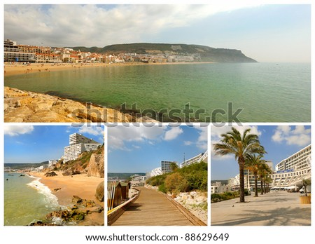 Portugal. Portuguese Atlantic coast. Beach, rocks, ocean, hotels and small towns. Sesimbra - stock photo